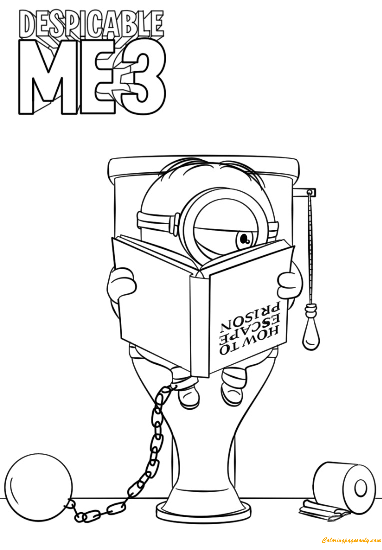 Despicable me 3 minion in prison coloring page free for Despicable me coloring pages printable