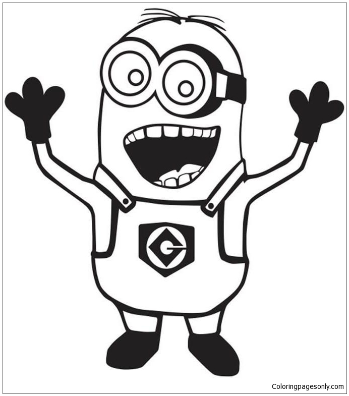Despicable Me Happy Minion Coloring Page