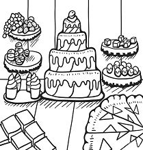 Desserts On The Table Coloring Page
