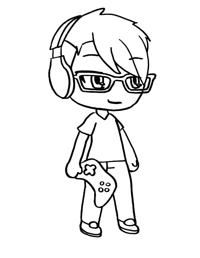 Dexter is holding gamepad and listening to music Coloring Page