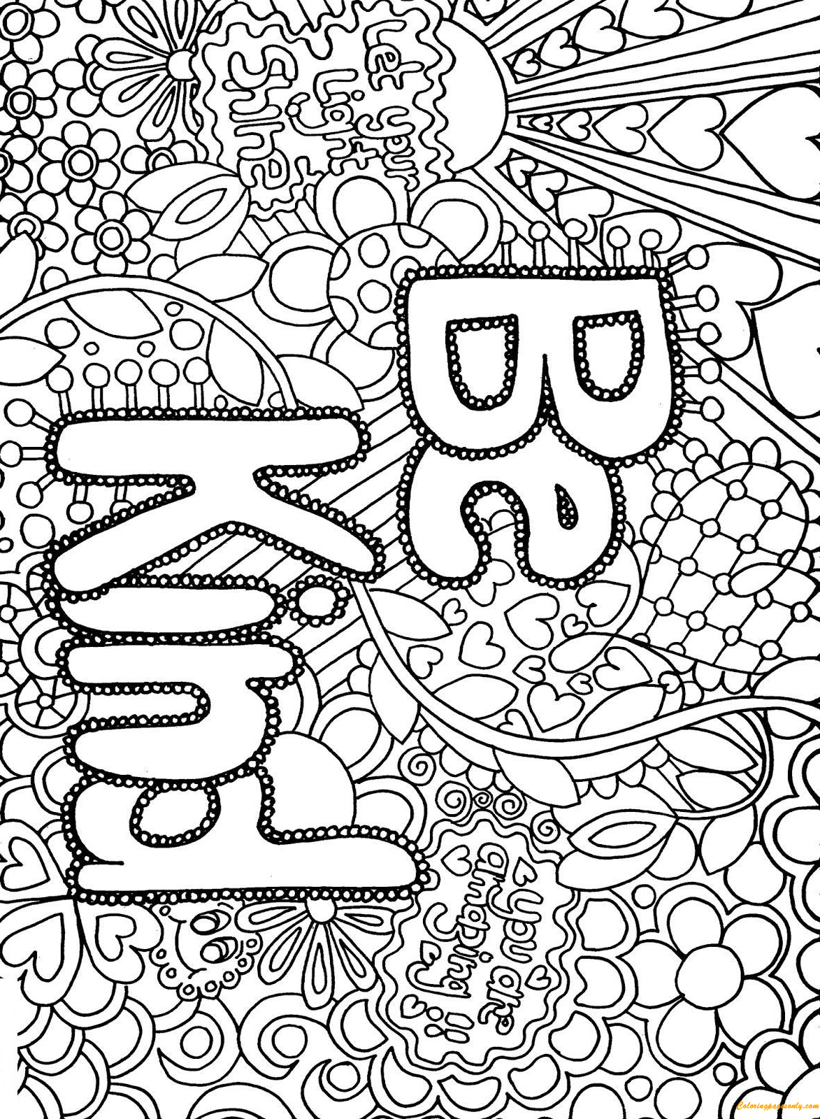 Coloring Page: Difficult Advanced Letter Be Kind Coloring Page