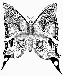 Difficult Butterfly Coloring Page