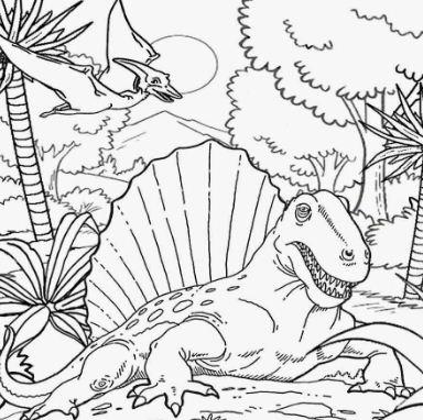 Dimetrodon In The Jungle Coloring Page
