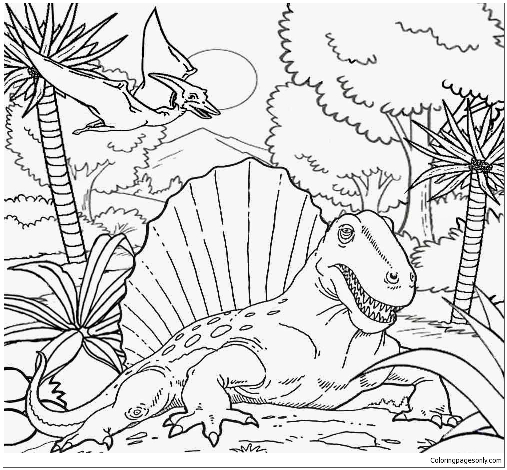 Dimetrodon In The Jungle Coloring Page