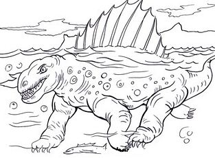 Dimetrodon In Under Water Coloring Page