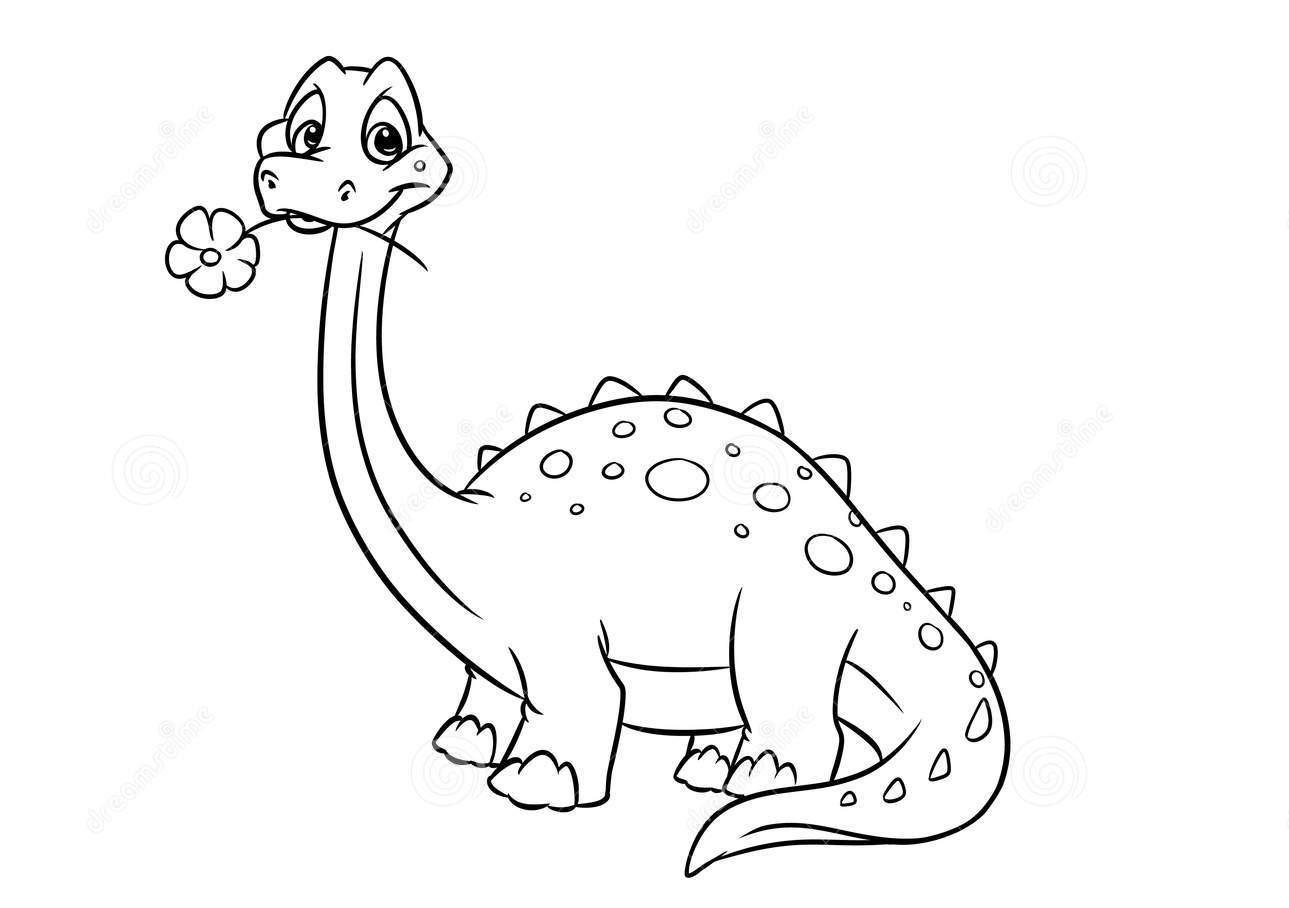Dinosaur Apatosaur cute Coloring Page