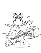Dinosaur playing guitar Coloring Page