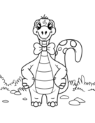 Dinosaur wearing bow tie Coloring Page