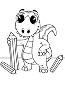 Dinosaur with pencils Coloring Page