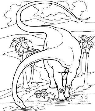 Diplodocus Dinosaurs Coloring Page
