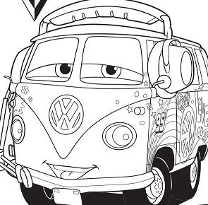 Disney Cars 2 Fillmore Coloring Page