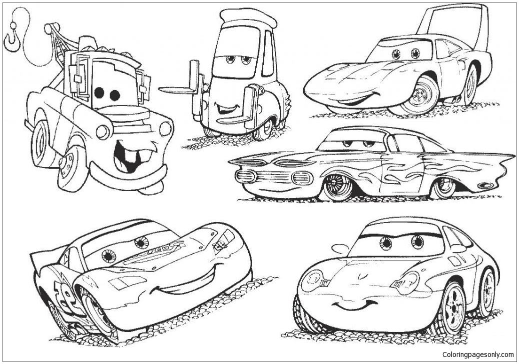 Disney Cars 2 Lightning Mcqueen Movie Coloring Page