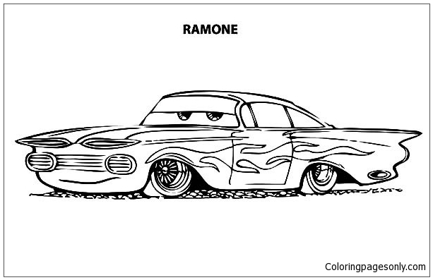 Disney Cars Ramone Lowrider Cars Coloring Page