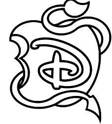 Disney Descendants Logo Apple Black and White Coloring Page