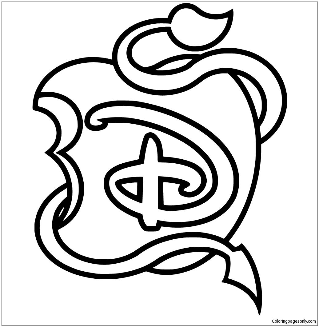Disney Descendants Logo Apple Black And White Coloring Pages Descendants Coloring Pages Free Printable Coloring Pages Online