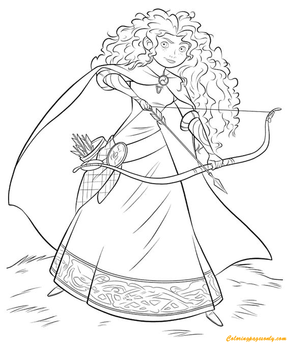 disney moana with archery coloring page - free coloring