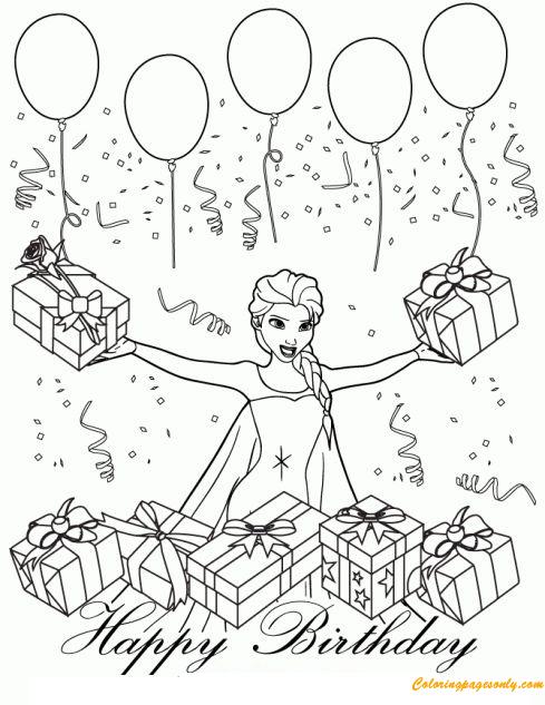 Disney Queen Elsa Birthday Coloring Page