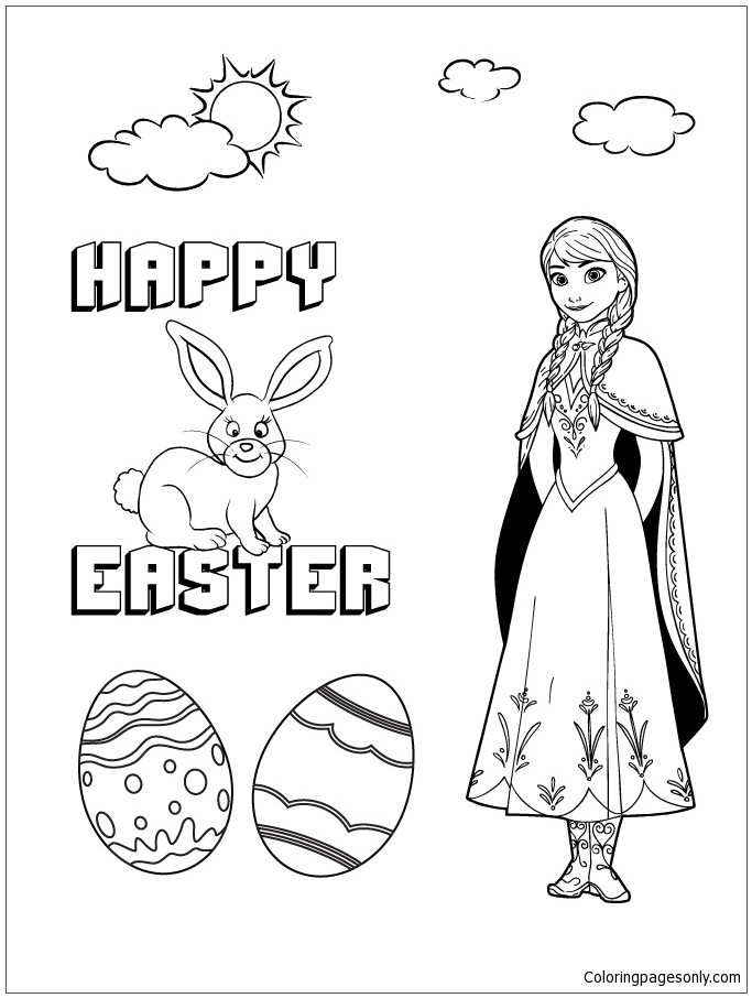 Disneys Frozen Anna And Easter Bunny Coloring Page