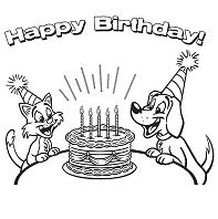 Dog And Cat Happy Birthday Coloring Page