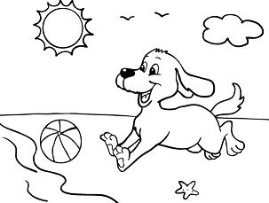 Dog At The Beach Coloring Page