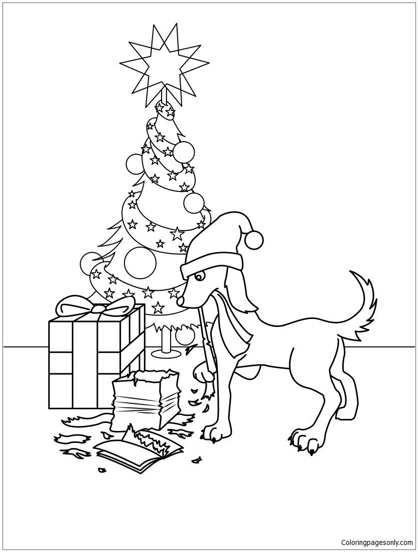 Dog Gifts Coloring Page