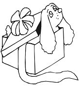 Dog in Gift Box Coloring Page