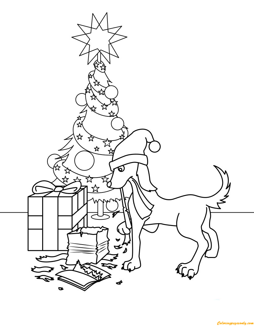 Dog Opening Gifts Coloring Page