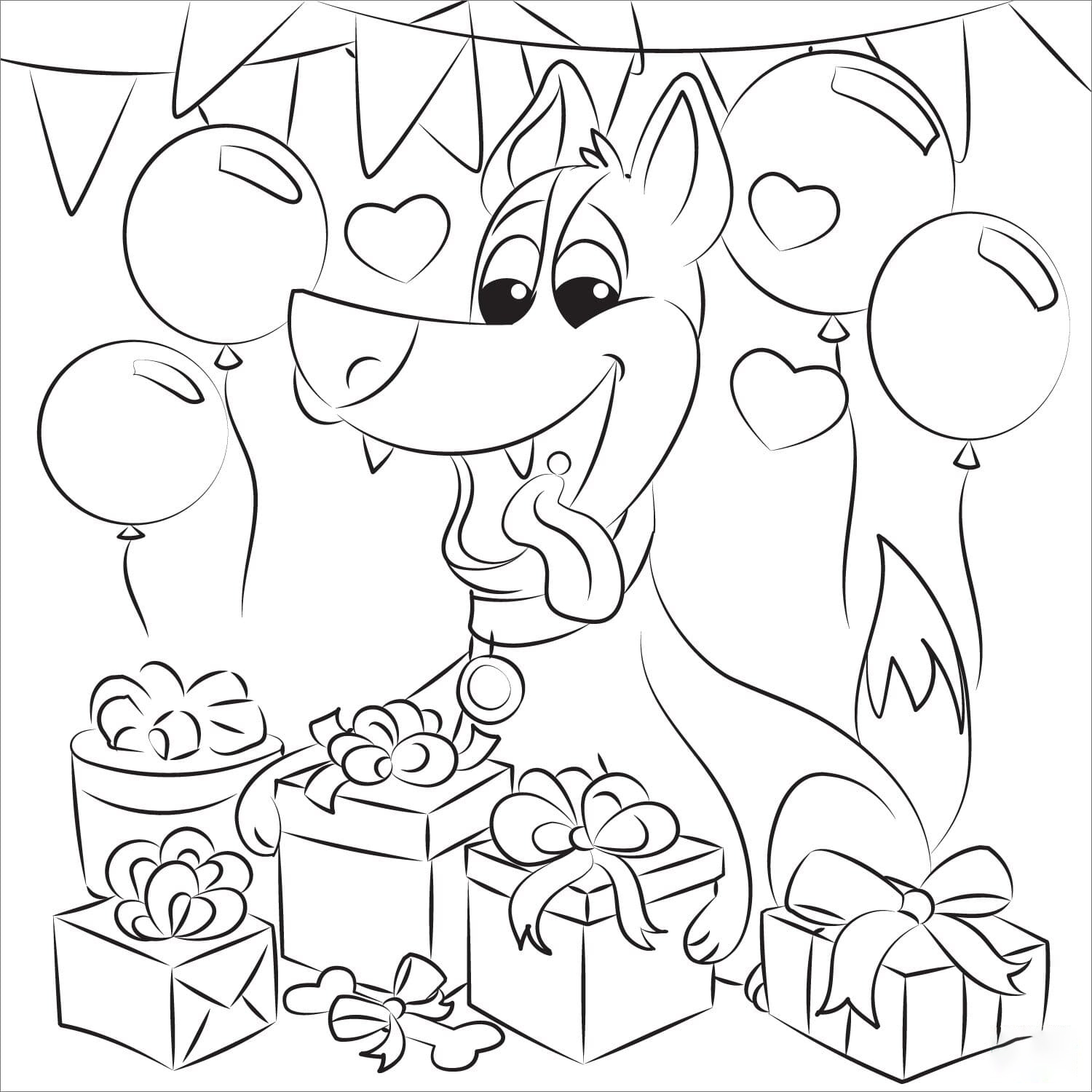 Dogs birthday Coloring Page
