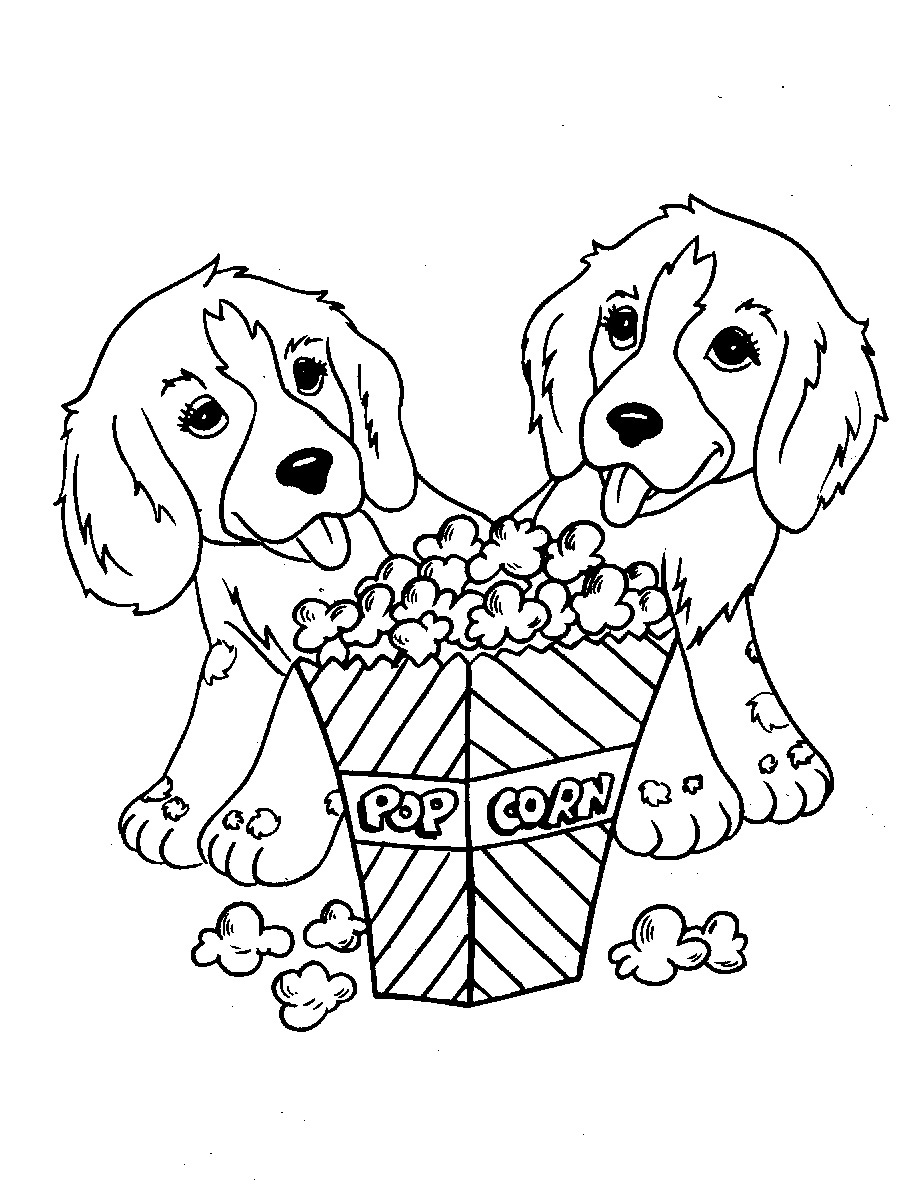 Dogs with Popcorn Coloring Page