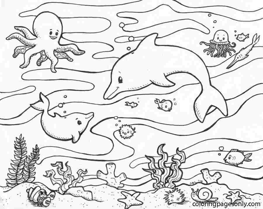 Dolphin famlily and their friends under the ocean Coloring Page