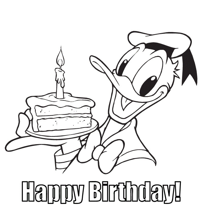 Donald Duck Happy birthday Coloring Page