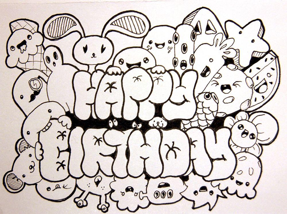 Doodle Happy birthday Coloring Page