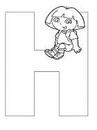 Dora The Explorer Alphabet Dora Sitting On Letter H