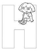 Dora The Explorer Alphabet Dora Sitting On Letter H Coloring Page