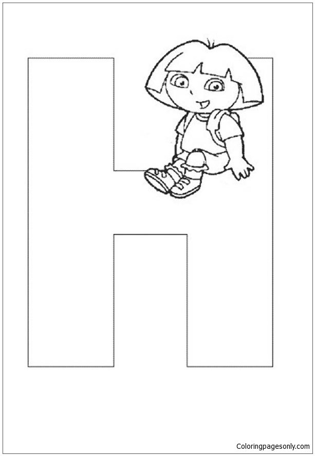 Dora The Explorer Alphabet Dora Sitting On Letter H Coloring Pages Alphabet Coloring Pages Free Printable Coloring Pages Online