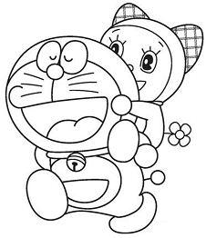 Doraemon and Dorami Coloring Page