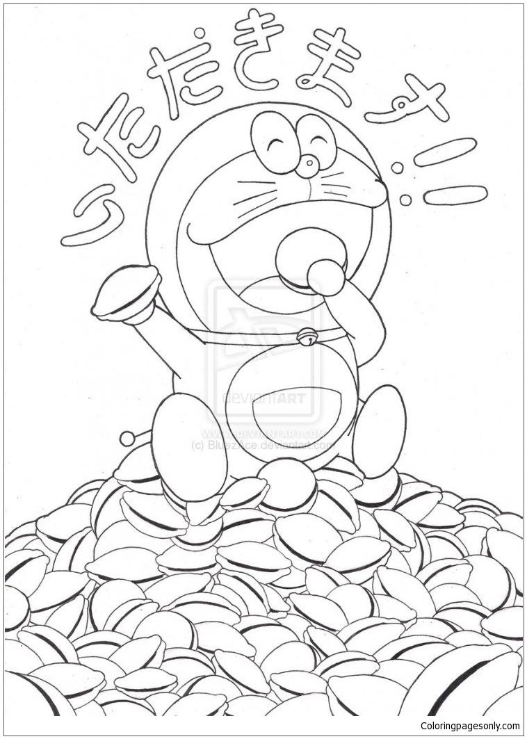 Doraemon And Dorayaki Coloring Page