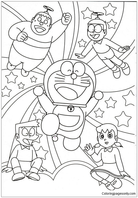 Doraemon And His Friends 1 Coloring Page
