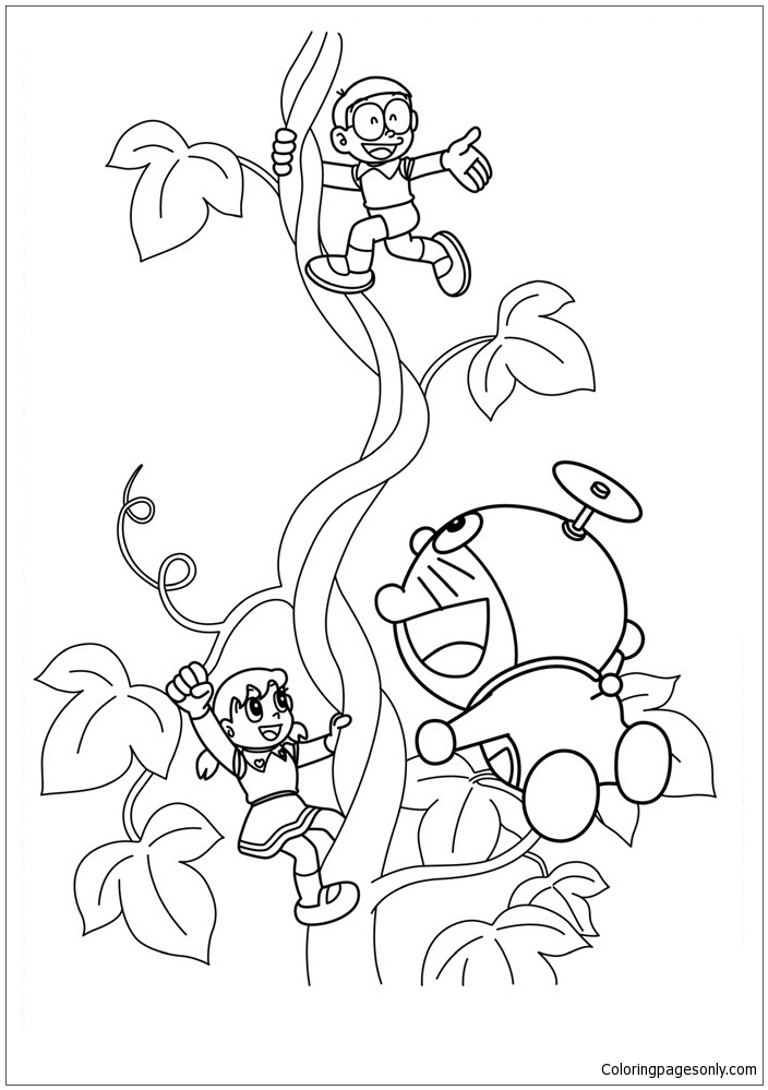 Doraemon And His Friends 2 Coloring Page