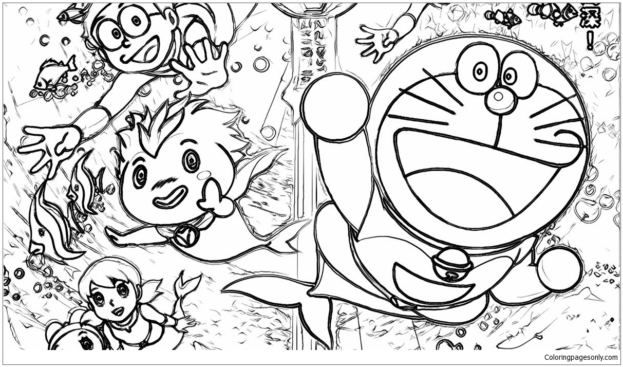 Doraemon And His Friends Under The Ocean Floor Coloring Page