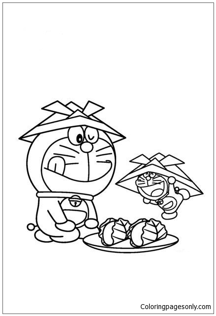 Doraemon And His Miniature Coloring Page