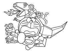Doraemon And Metal Dinosaur Coloring Page
