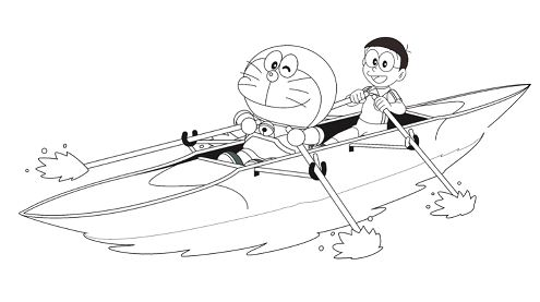 Doraemon and Nobita boating  Coloring Page
