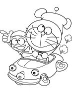 Doraemon And Nobita Driving A Car