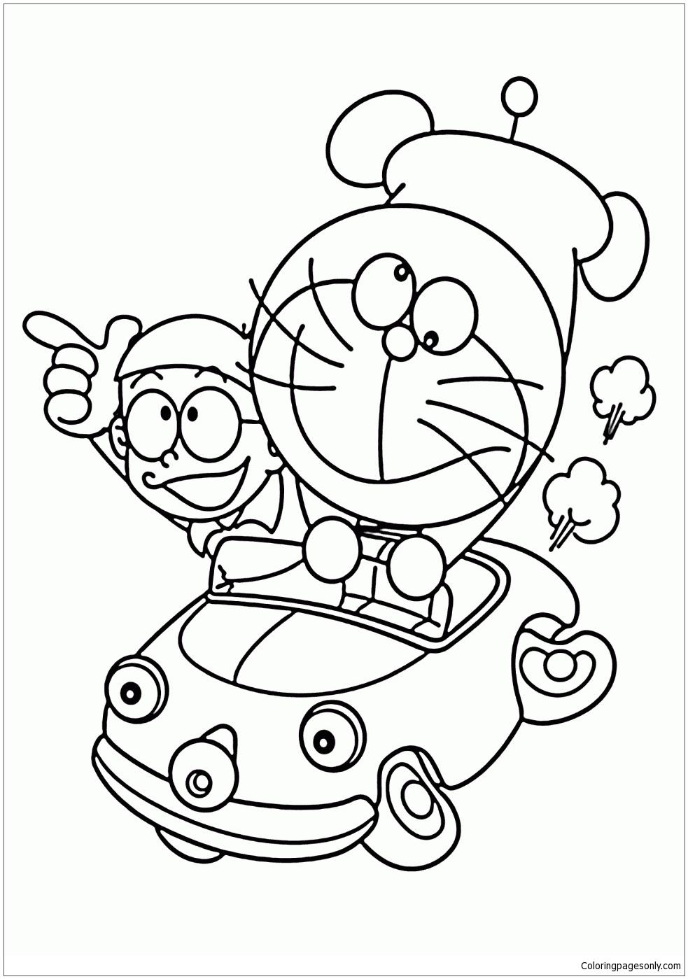 Doraemon And Nobita In Car Coloring Page