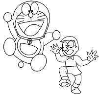 Doraemon And Nobita Coloring Page