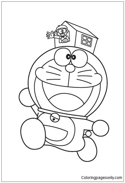 Doraemon And Small House Coloring Page