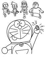 Doraemon Calling Nobita Suneo Shizuka and Giant Coloring Page