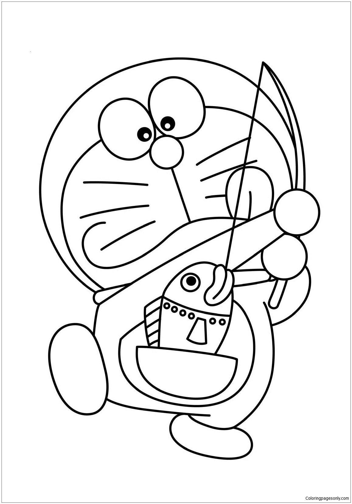 Doraemon Fishing From His Pocket Coloring Page
