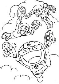 Doraemon Flies With Fan